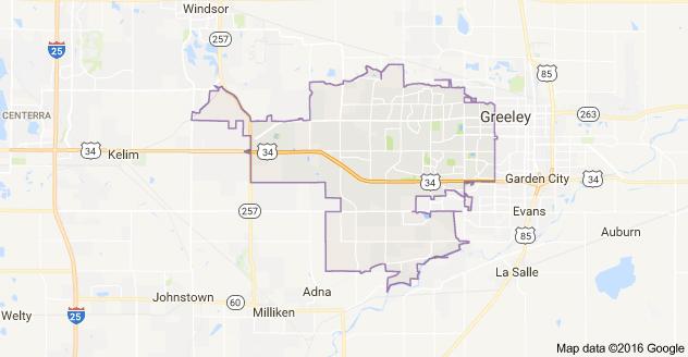 Map of Greeley CO Zip Code 80634 Boundaries